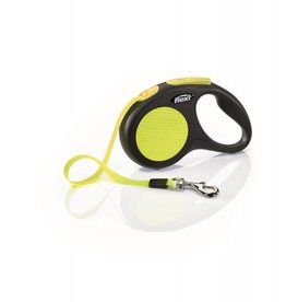Flexi Extending Dog Lead, Neon Reflective Small Black & Neon, Tape 5m