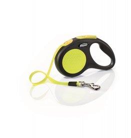 Flexi Extending Dog Lead, Neon Reflective Small Black & Neon, Tape 5m