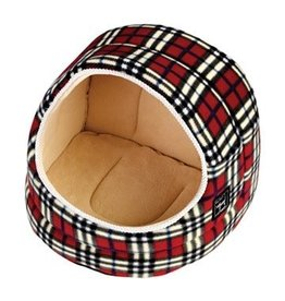 Gor Pets Hooded Cat Bed Argyll, Red/Cream Fleece***