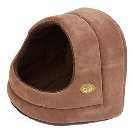 Gor Pets Hooded Cat Bed Bruges, Brown Suede