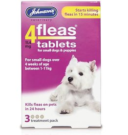 Johnsons 4Fleas Tablets Small Dogs and Puppies Up To 11 kg, 3 x 11.4 mg Tablets