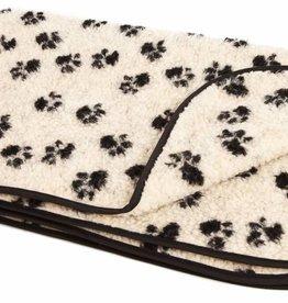 Pets & Leisure Double Thickness Sherpa Fleece Blanket, Paw Print Beige/Black