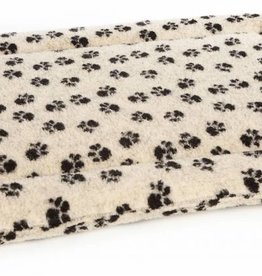 Pets & Leisure Superior Pet Beds Rectangular Fleece Cushion Pads, Paw Print Beige