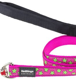 Red Dingo Lime Stars on Hot Pink Dog Lead