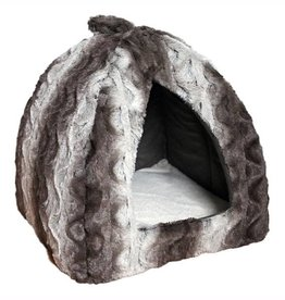 Rosewood 40 Winks Pyramid Grey & Cream Snuggle Plush Bed 40cm 16inch
