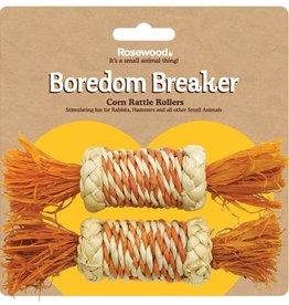 Rosewood Boredom Breaker Corn Wood & Sisal Toys 2 Corn Rattle Rollers