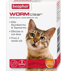 Beaphar WORMclear Cat One Dose Wormer for Cats & Kittens 2 Tablets