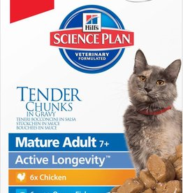 Hill's Science Plan Feline Mature Adult 7+ Tender Chunks in Gravy Original Multipack Wet Cat Food Pouch 12 x 85g
