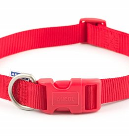 Ancol Heritage Nylon Adjustable Dog Collar, Red