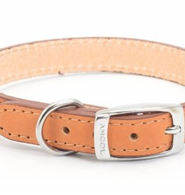 Ancol Heritage Leather Sewn/Half Lined Dog Collar, Tan