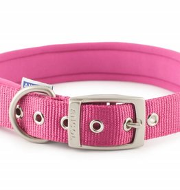 Ancol Heritage Nylon Padded Dog Collar, Raspberry