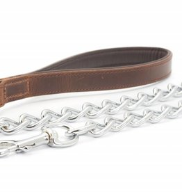 Ancol Heritage Vintage Padded Leather Handled Chain Dog Lead, Chestnut