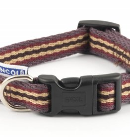 Ancol Indulgence Cotton Stripe Adjustable Dog Collar, Damson Stripe