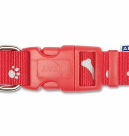 Ancol Indulgence Paw n Bone Reflective Adjustable Dog Collar, Red