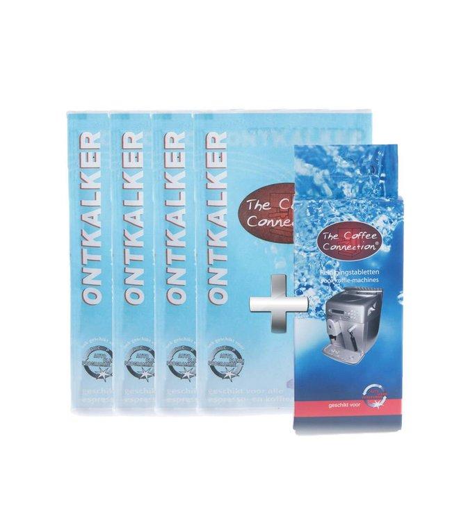 The Coffee Connection Ontkalkerset: 4x ontkalker + reinigingstabletten