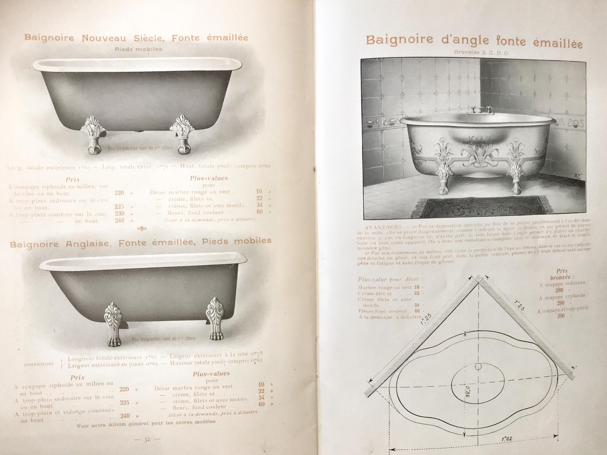 Antieke gietijzeren hoekbad, catalogus Bono