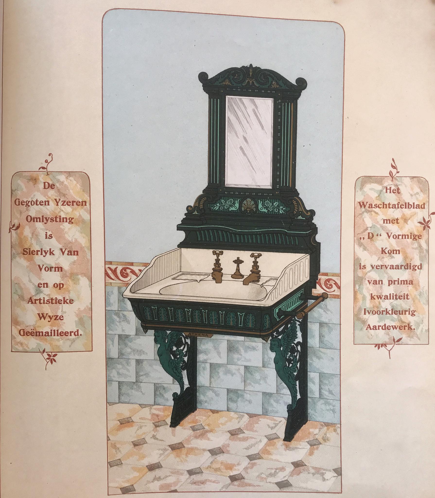 Wastafelmeubel van gietijzer uit de catalogus van de firma Twyford's 1894