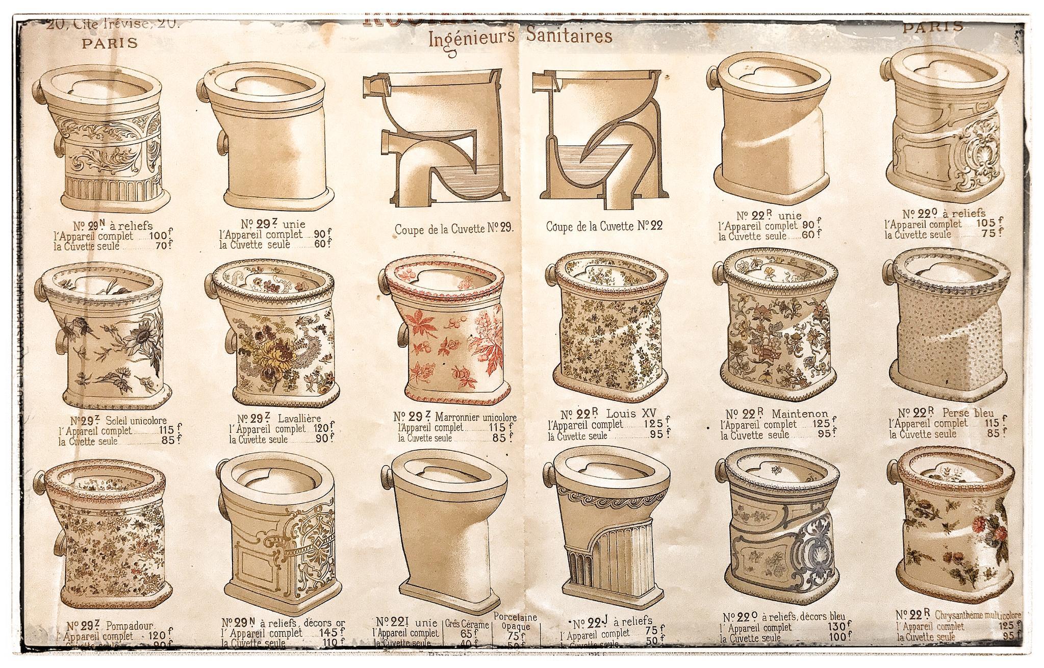 Gedecoreerde toiletten rond 1900 Parijs
