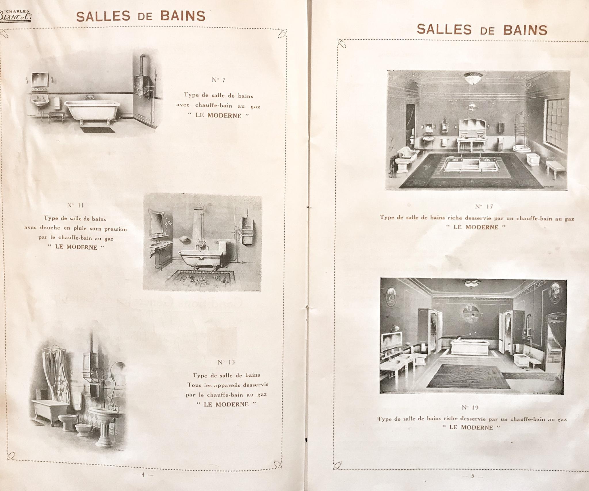 Verschillende types badkamers uit catalogus Charles Blanc 1908