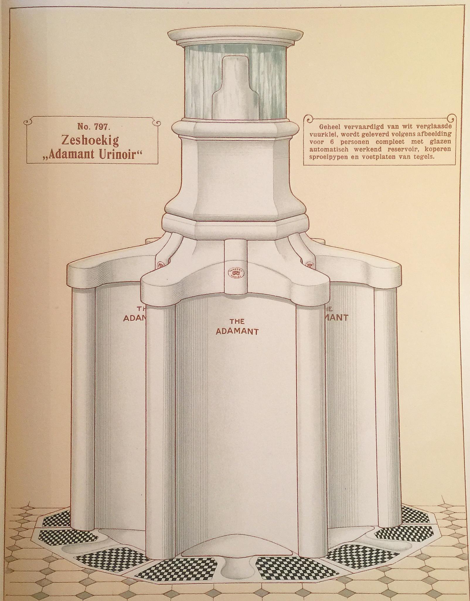 Rond urinoir Adamant van de firma Twyford's voor publieke gelegenheden