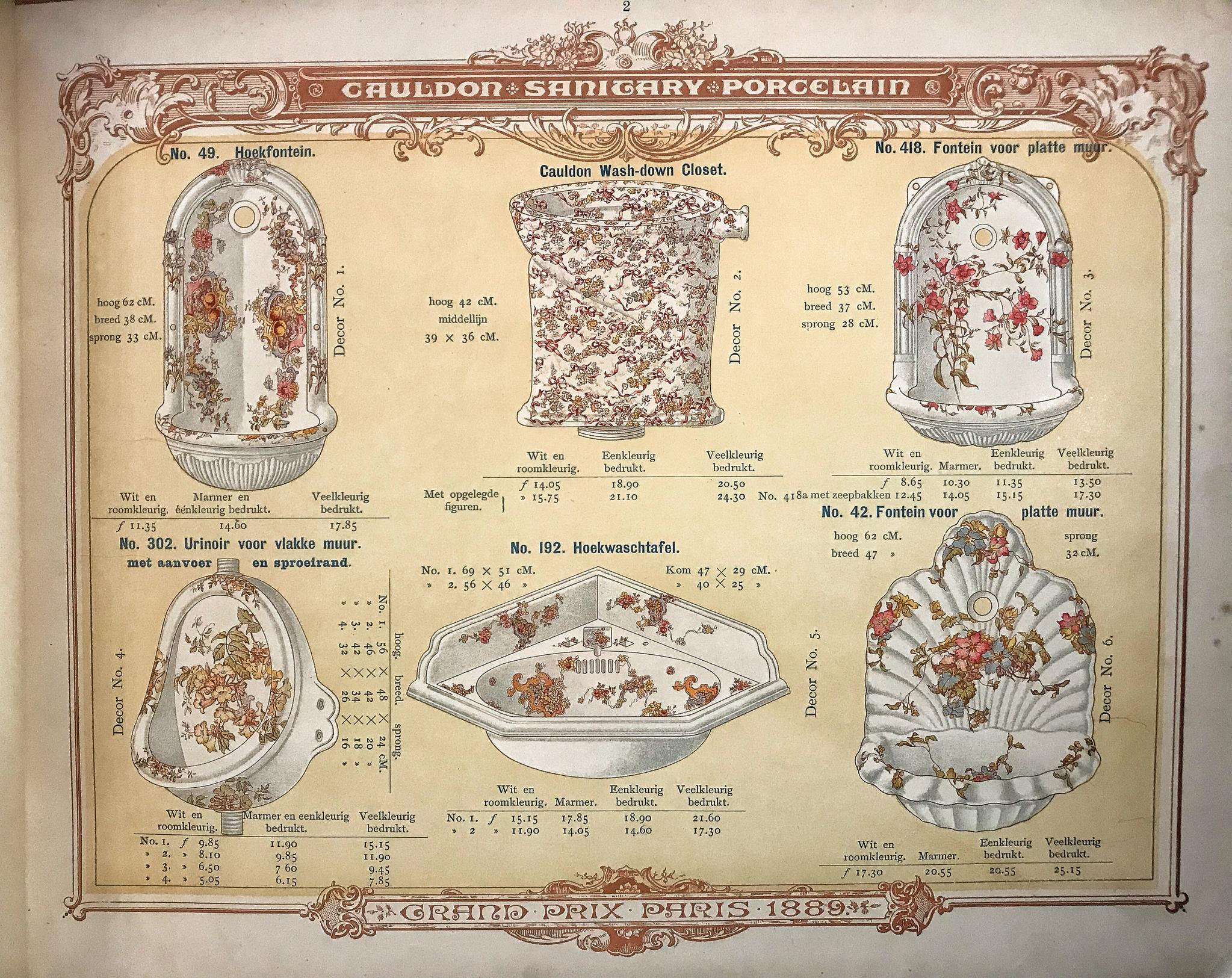 Gedecoreerde fonteintjes Cauldon uit de catalogus van de firma Stokvis ca.1900