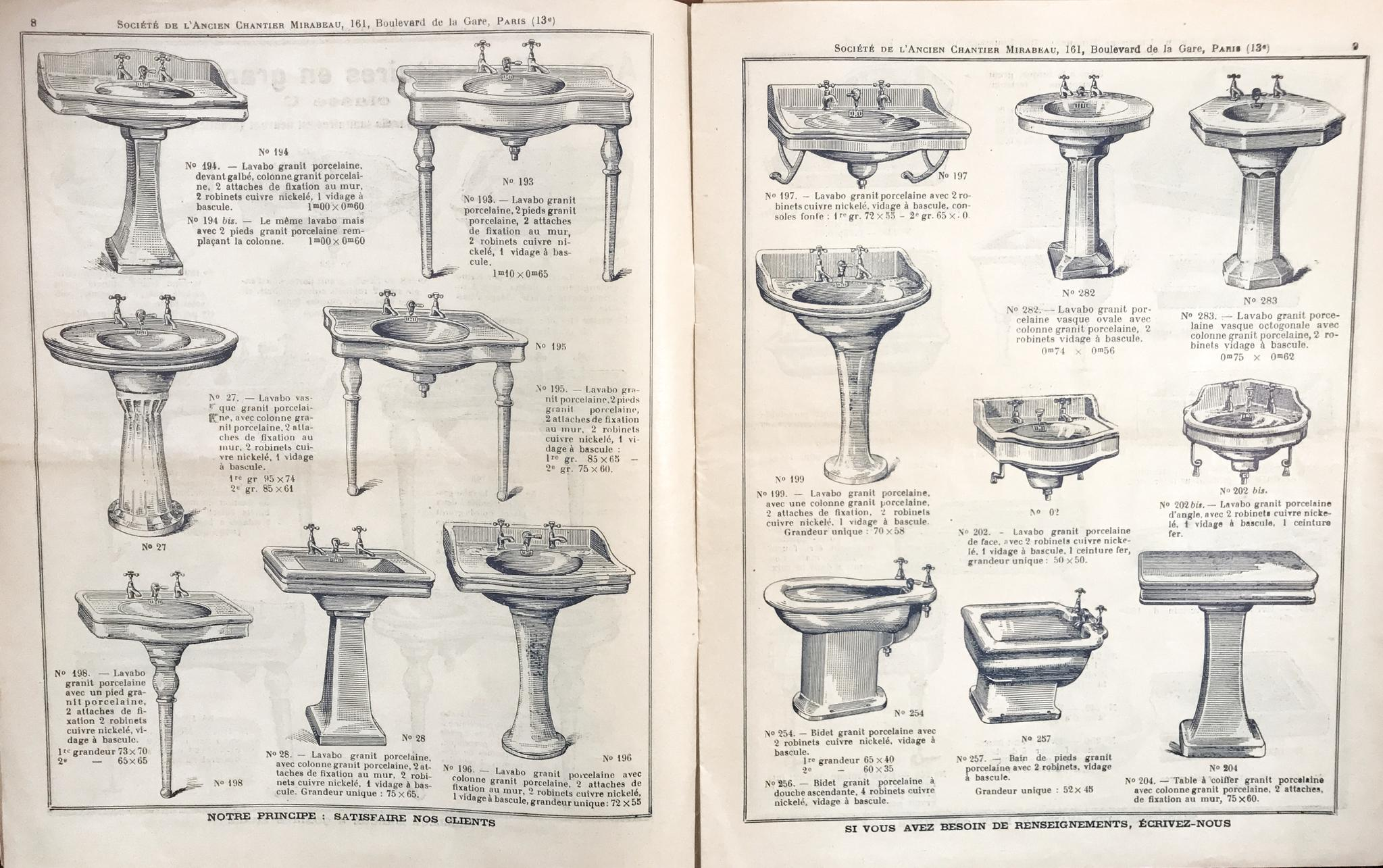Collectie porseleinen wastafel uit de catalogus van Chantier Mirabeau