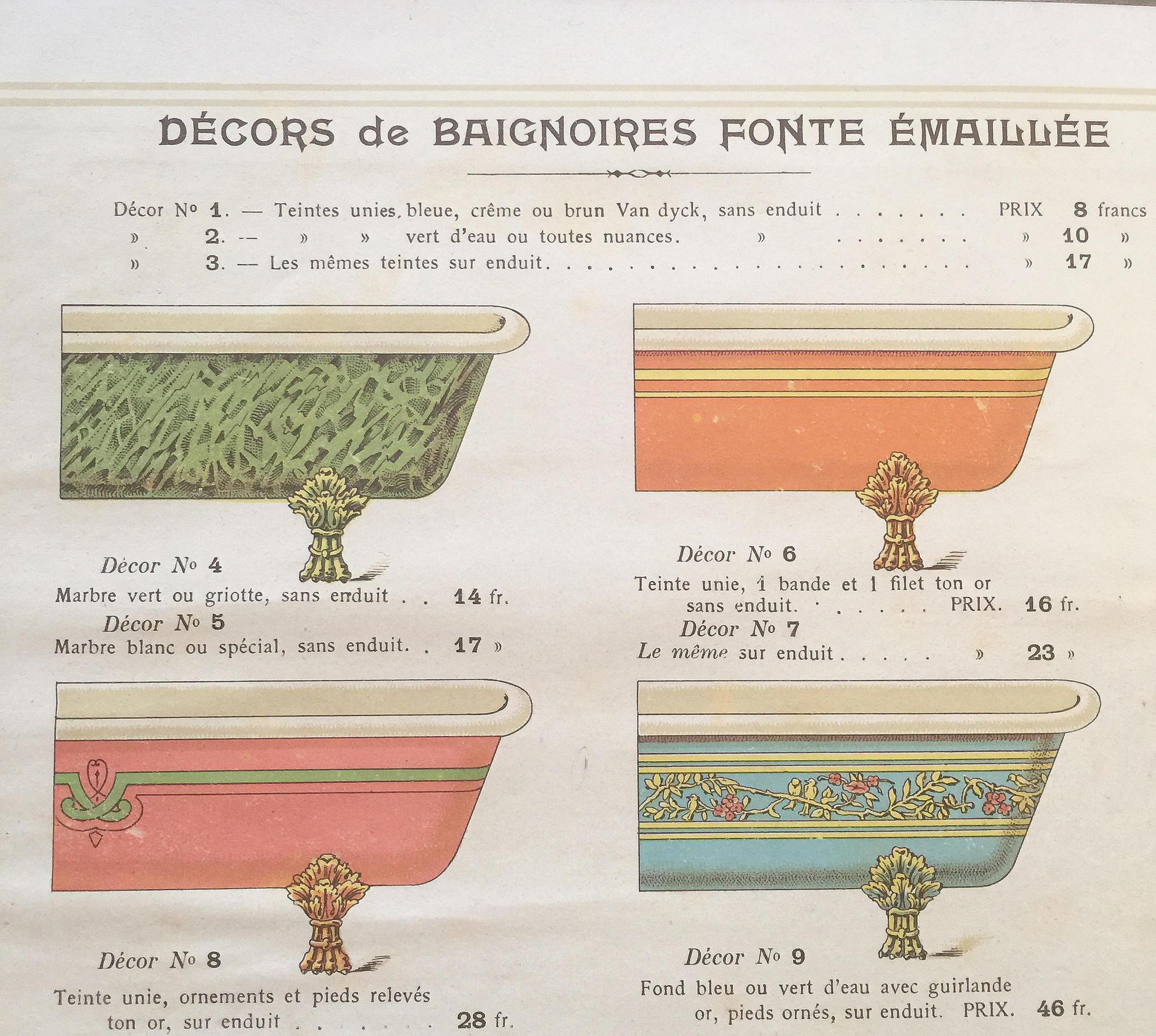 Verschillende opties voor decoraties van gietijzeren baden begin 1900