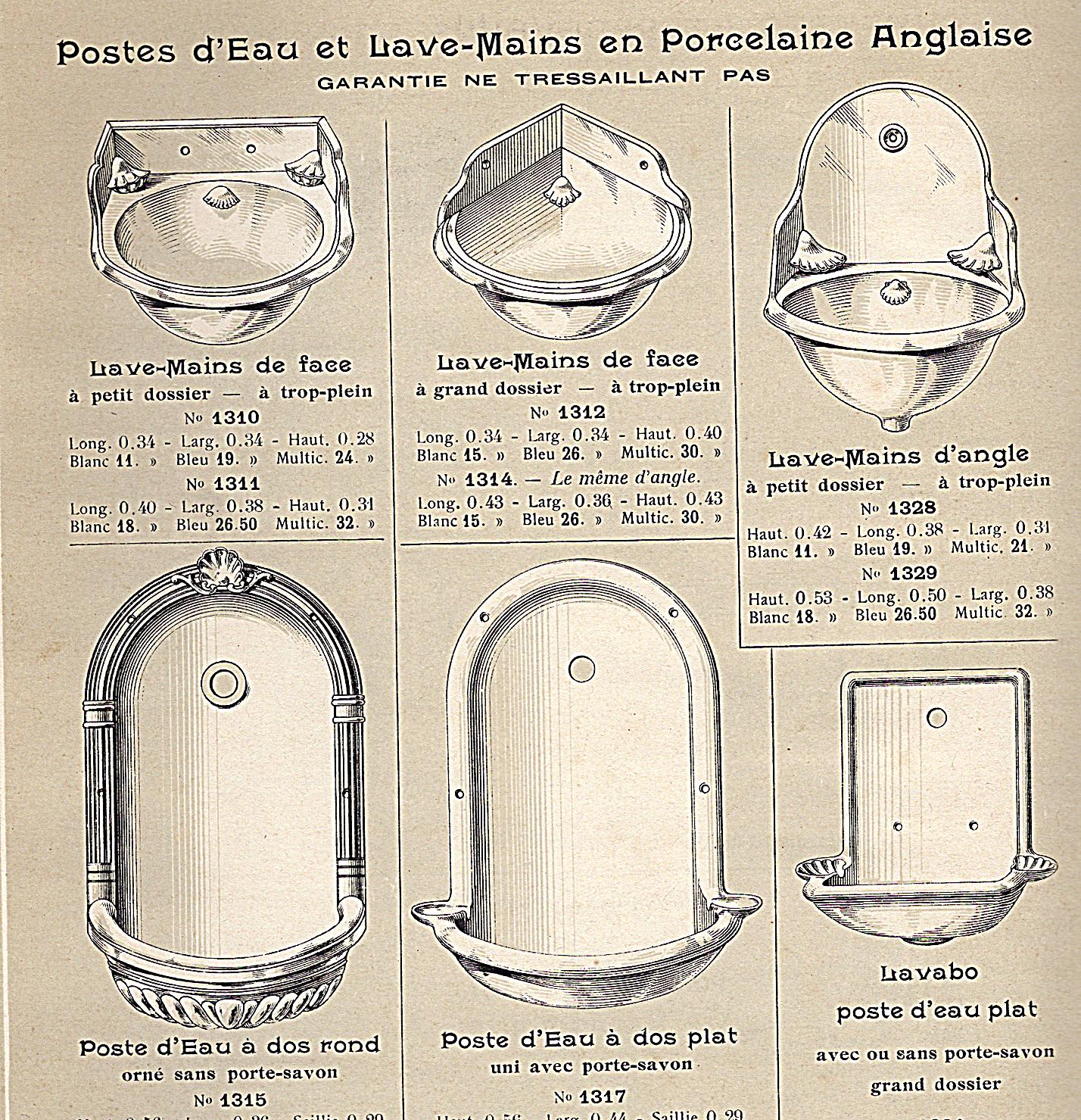 Porseleinen fonteintjes voor het toilet omstreeks 1900 Frankrijk