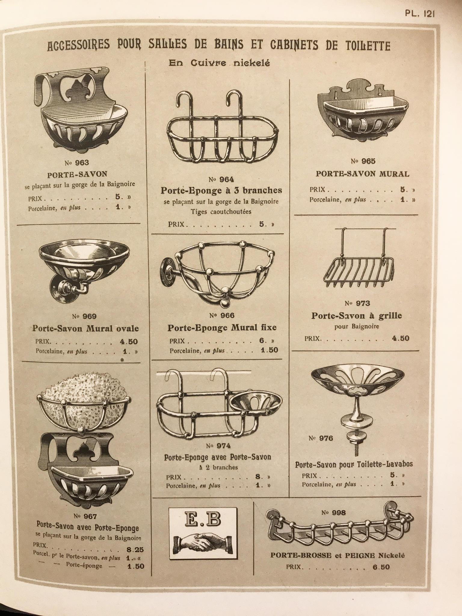 Diverse badkamer accessoires, Frankrijk omstreeks 1900
