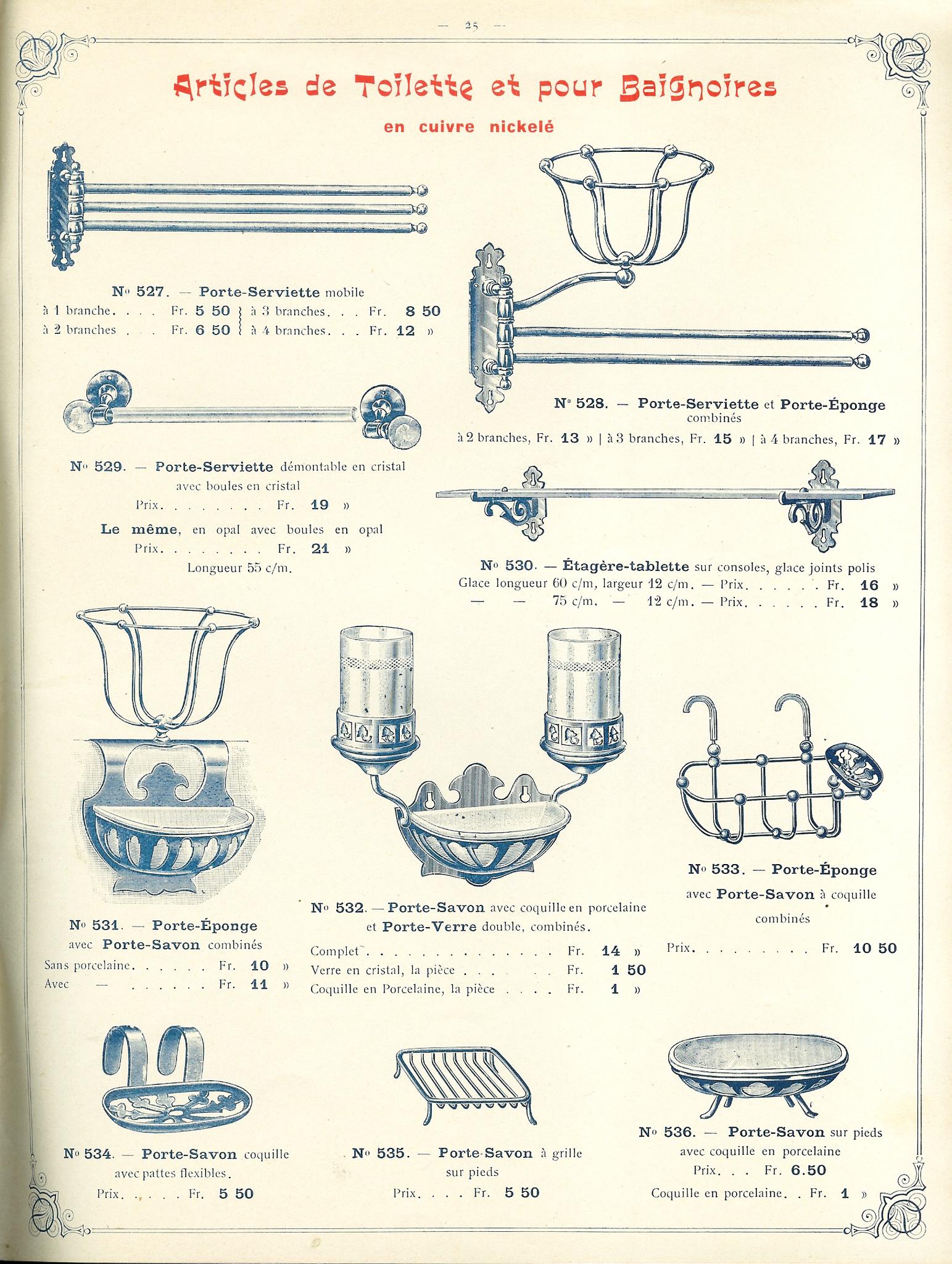 Badkamer accessoires omstreeks 1900