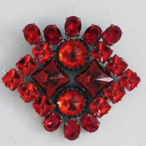 Strass Brooch Cluster Red