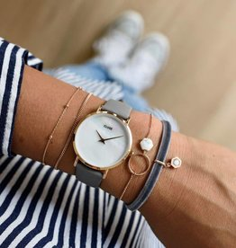 Cluse Minuit rose gold white pearl/ stone grey