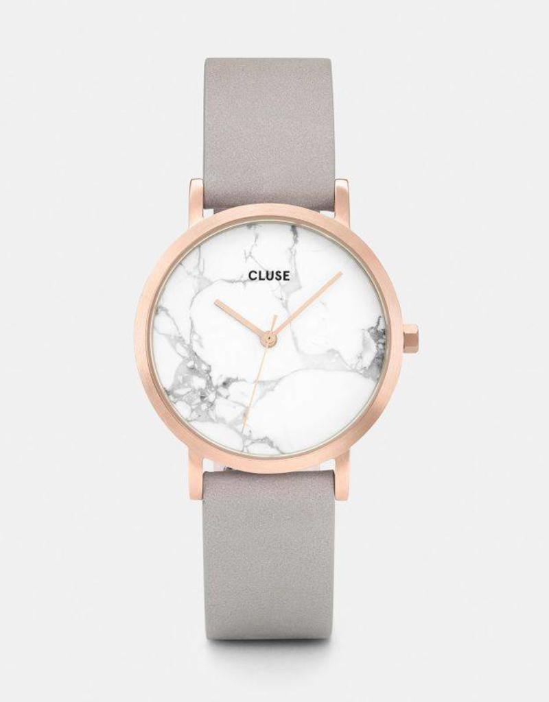 Cluse Cluse - La Roche Petite Rose Gold White Marble/Grey
