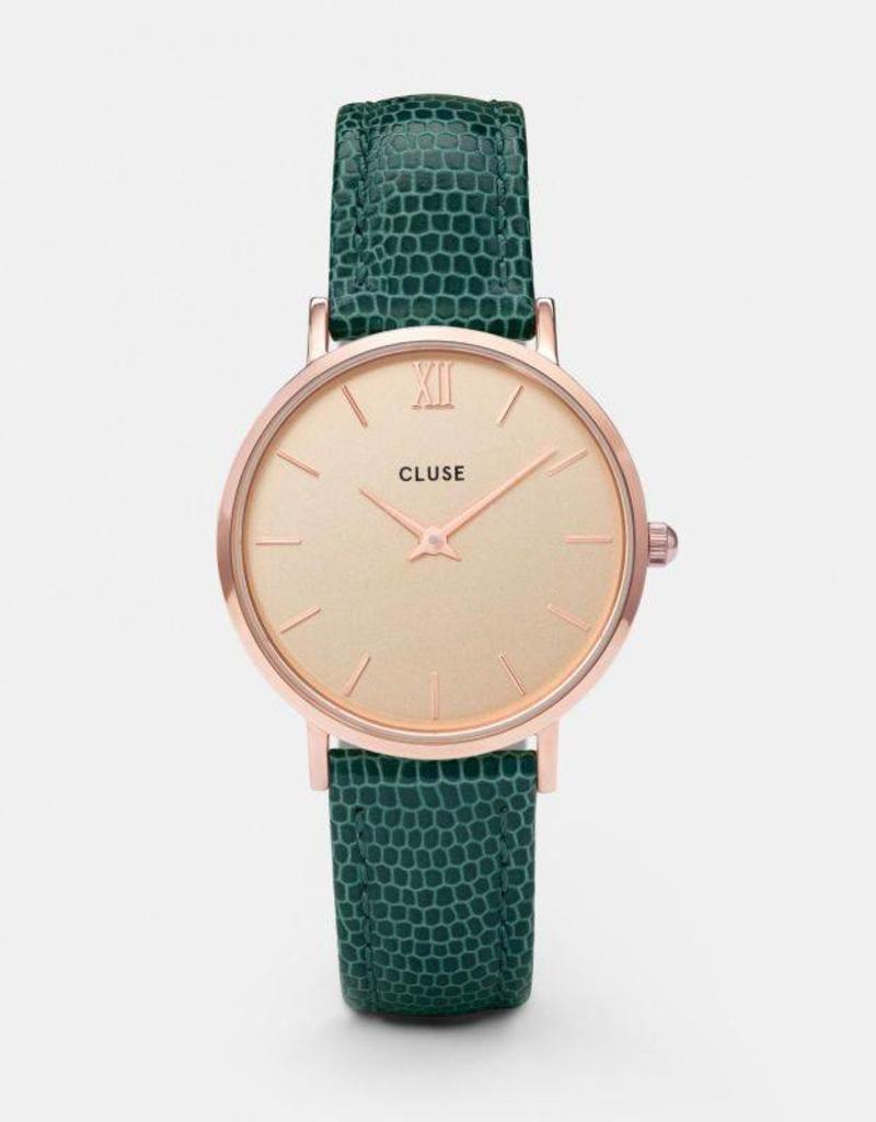 Cluse Cluse - La Boheme rose gold white /emerald lizard