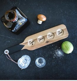 Gentlemen's hardware Serving paddle and shotglasses