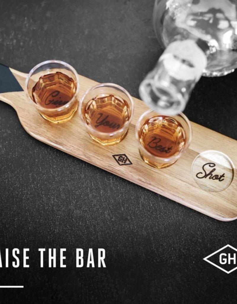Gentlemen's hardware Gentlemen's hardware  - Serving paddle and shotglasses