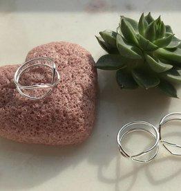 Juulry Zilveren ring dubbele triangle