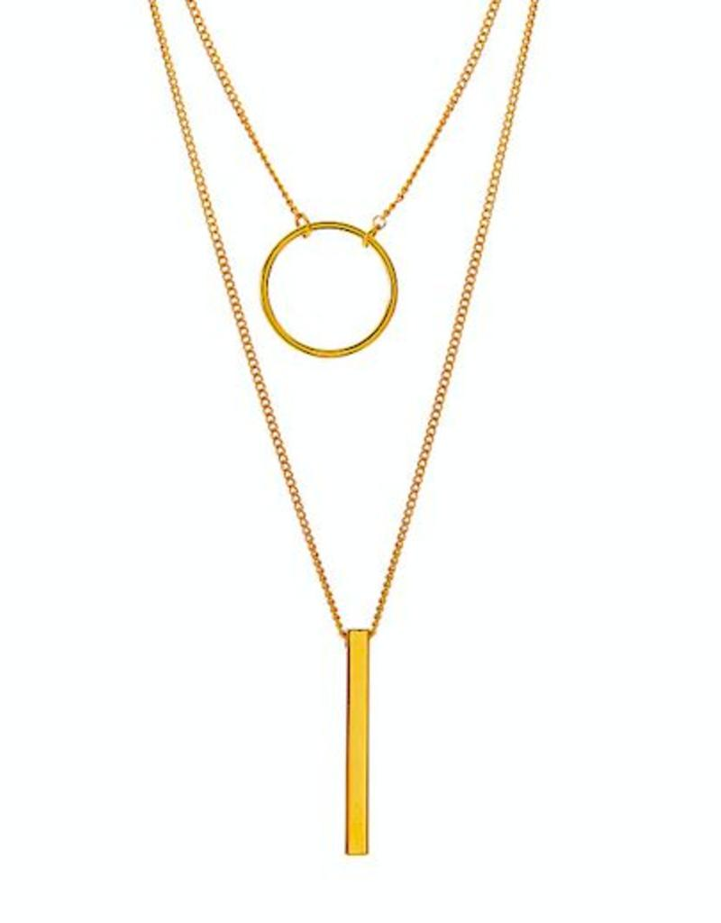 Juulry Juulry - Ketting staaf en cirkel - goldplated