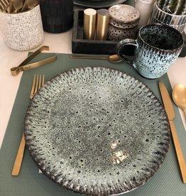 Madam Stoltz Stoneware plate green Large
