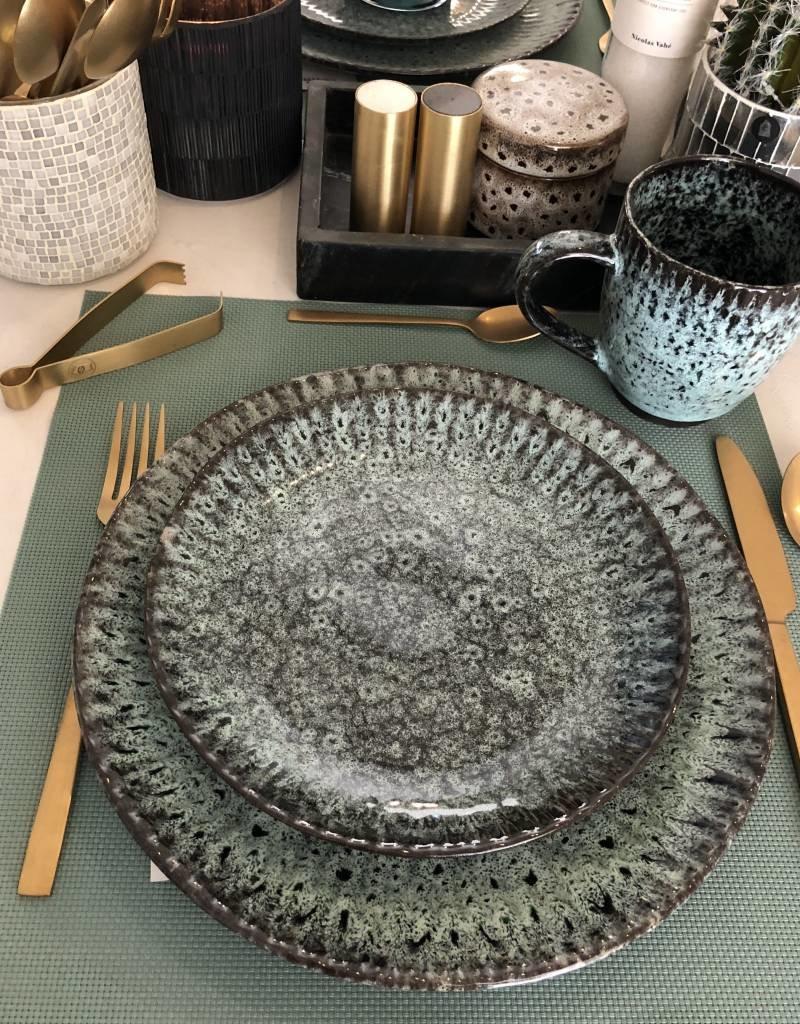 Madam Stoltz Madam Stoltz - Stoneware plate green