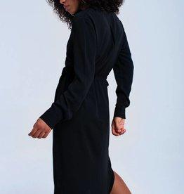 Zwarte midi jurk met bandjes