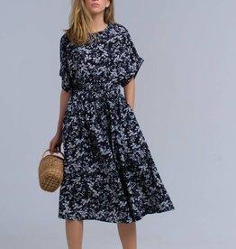 Zwarte maxi-jurk met bloemenprint