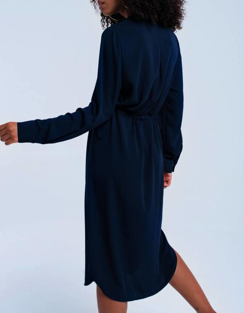 Blauwe midi jurk met bandjes