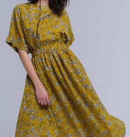 Yellow maxi-jurk met bloemenprint