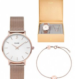 Cluse Minuit heart Rose Gold Mesh watch and bracelet