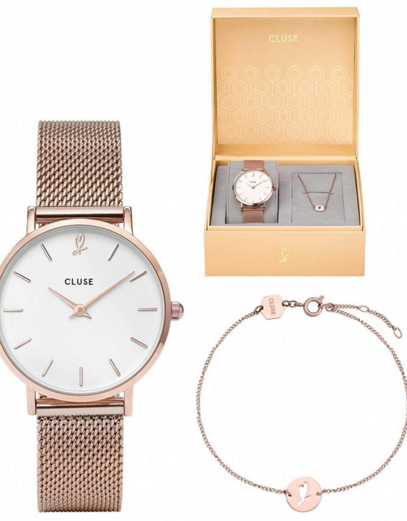 Cluse Cluse- Minuit heart Rose Gold Mesh watch and bracelet