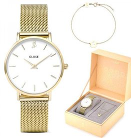 Cluse Minuit heart Gold Mesh watch and bracelet
