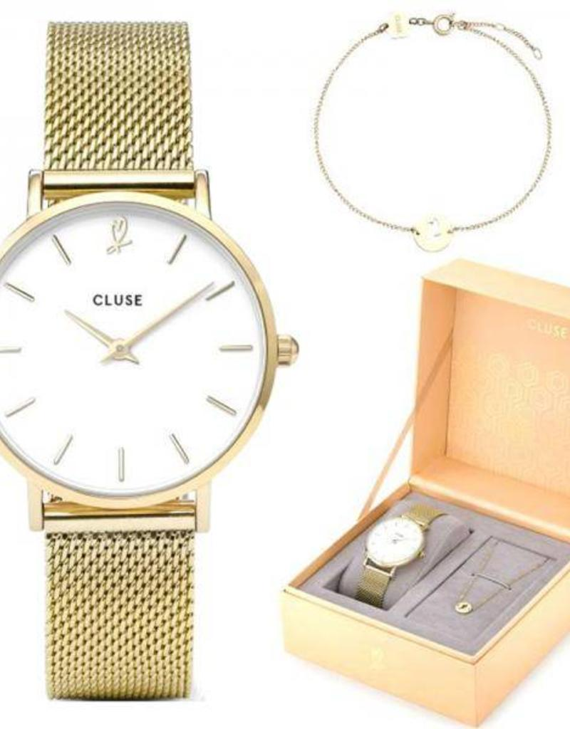 Cluse Cluse- Minuit heart Gold Mesh watch and bracelet