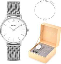 Cluse Minuit heart Silver Mesh watch and bracelet