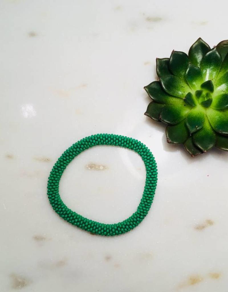 Biba Biba- Armband beads - mat green